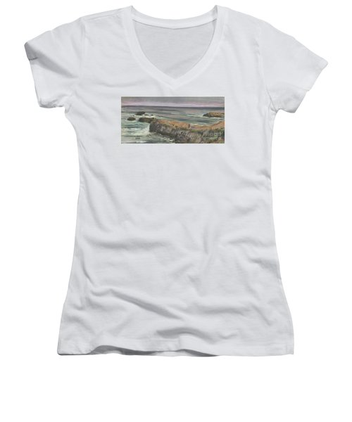 Women's V-Neck T-Shirt (Junior Cut) featuring the painting Pescadero Beach by Donald Maier