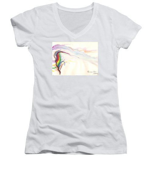 Rainbow Tree Women's V-Neck T-Shirt