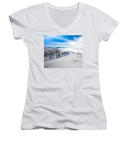 Ridgeline Women's V-Neck T-Shirt (Junior Cut) by Aaron Aldrich