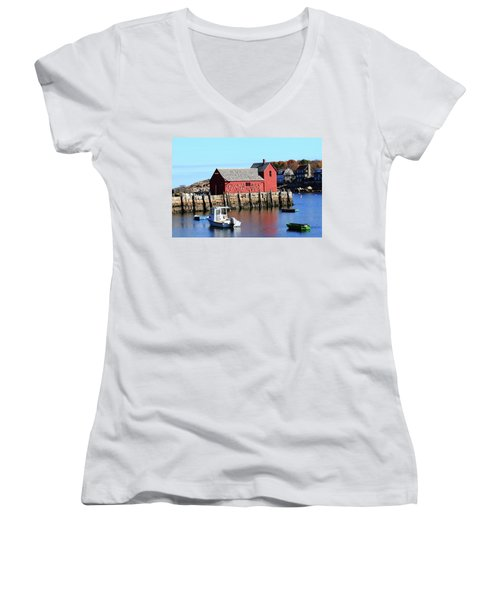 Rockport Motif Number 1 Women's V-Neck T-Shirt (Junior Cut) by Lou Ford