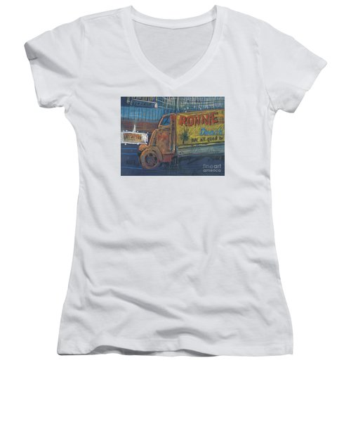 Women's V-Neck T-Shirt (Junior Cut) featuring the painting Ronnie John's by Donald Maier