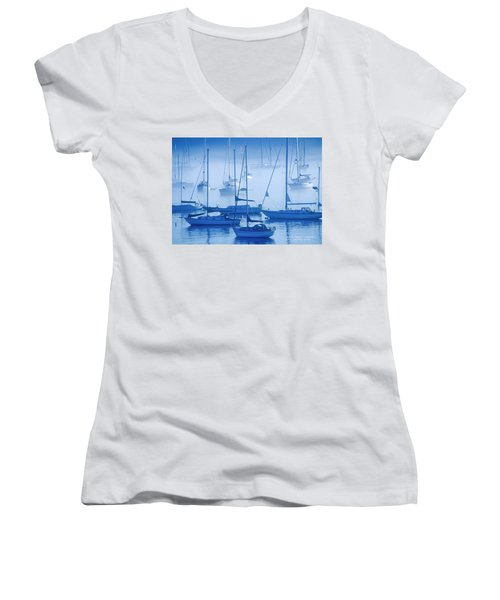 Sailboats In The Fog - Maine Women's V-Neck T-Shirt (Junior Cut) by David Perry Lawrence