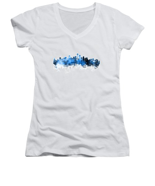 Seattle Washington Skyline Women's V-Neck