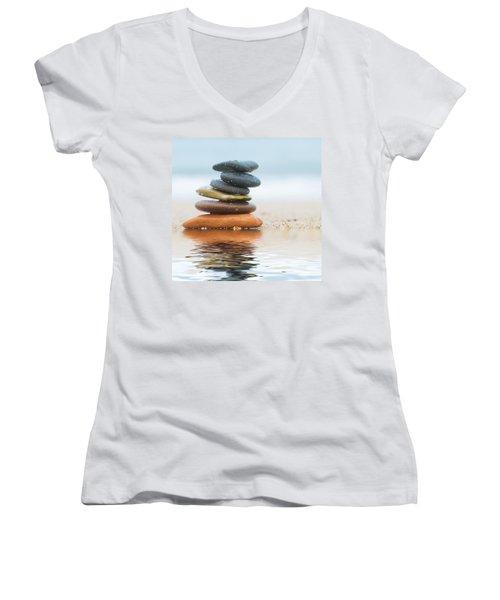 Stack Of Beach Stones On Sand Women's V-Neck T-Shirt