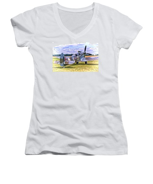 Supermarine Spitfire T9 Women's V-Neck (Athletic Fit)