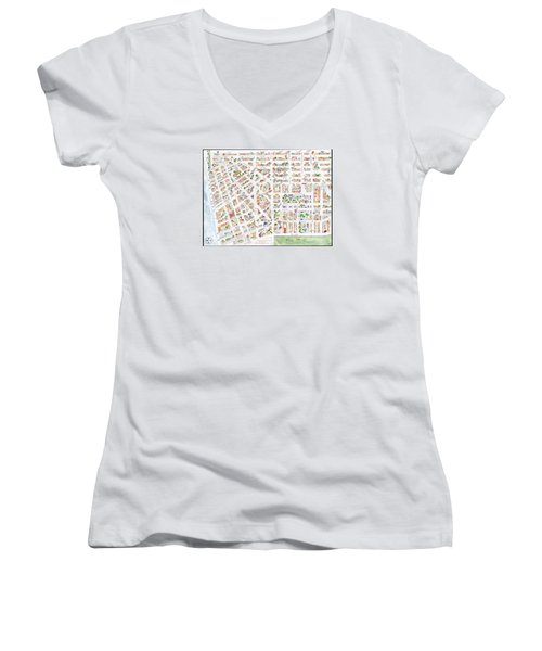 The Greenwich Village Map Women's V-Neck (Athletic Fit)