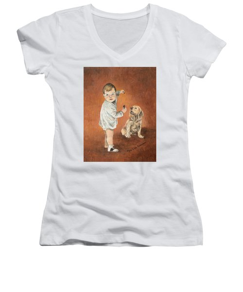 Women's V-Neck T-Shirt (Junior Cut) featuring the painting The Guilty Ones by Mary Ellen Anderson