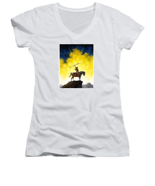 Women's V-Neck T-Shirt (Junior Cut) featuring the digital art The Signal by Scott Ross