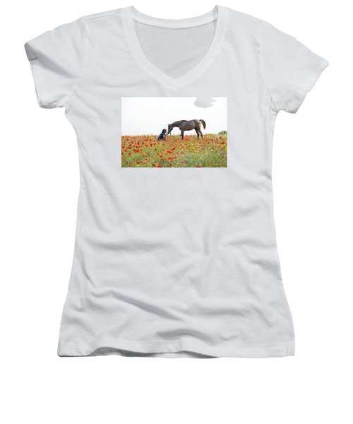 Three At The Poppies' Field... 4 Women's V-Neck (Athletic Fit)