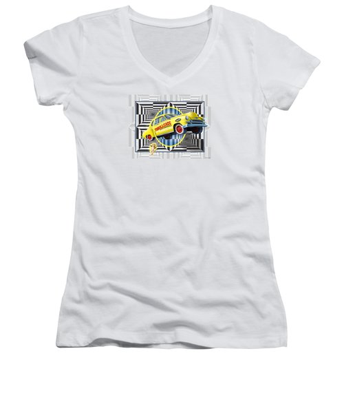 Women's V-Neck T-Shirt (Junior Cut) featuring the digital art Thrillcade by Scott Ross