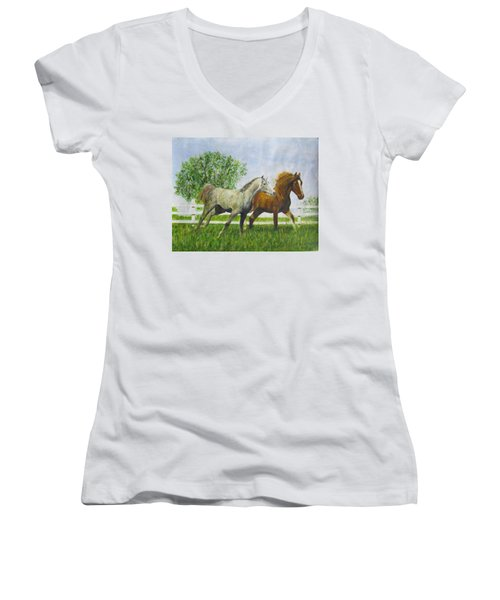 Two Horses Running By White Picket Fence Women's V-Neck (Athletic Fit)