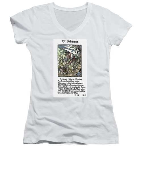 Women's V-Neck T-Shirt (Junior Cut) featuring the painting Vinegrower, 1568 by Granger
