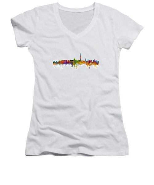 Washington Dc Skyline Women's V-Neck T-Shirt (Junior Cut) by Michael Tompsett