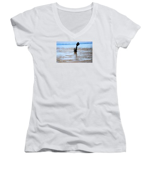 Waters Up Women's V-Neck T-Shirt (Junior Cut) by Kelly Awad