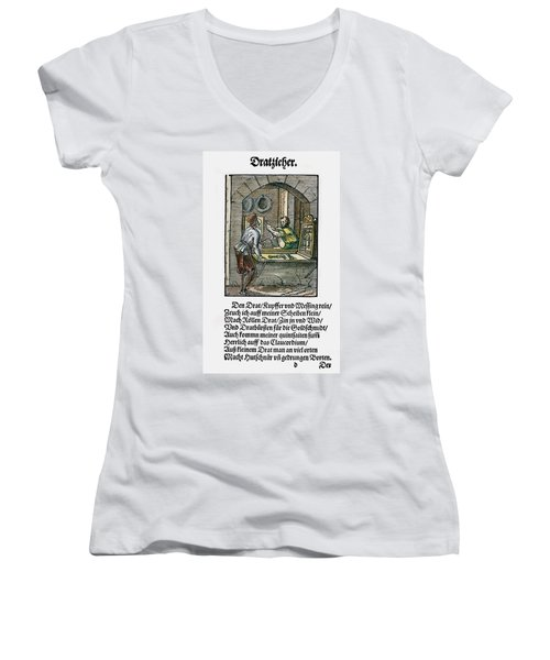 Women's V-Neck T-Shirt (Junior Cut) featuring the drawing Wiredrawer, 1568 by Granger