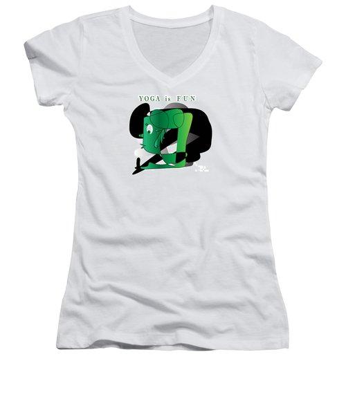 Women's V-Neck T-Shirt (Junior Cut) featuring the digital art Yoga by Iris Gelbart