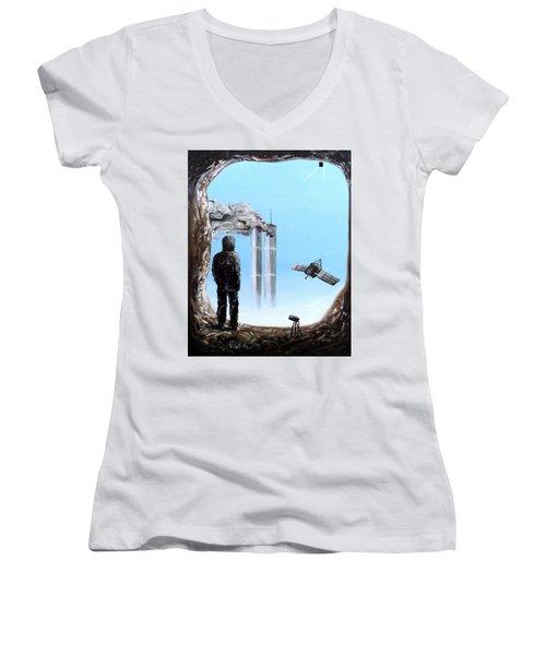 2012-confronting Inevitability Women's V-Neck T-Shirt (Junior Cut) by Ryan Demaree