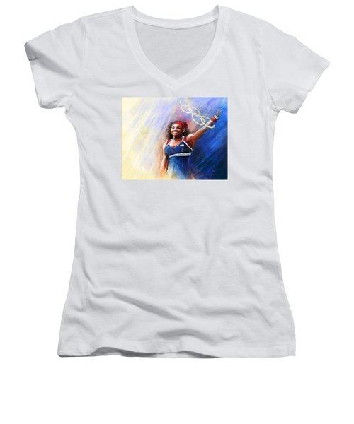 2012 Tennis Olympics Gold Medal Serena Williams Women's V-Neck T-Shirt