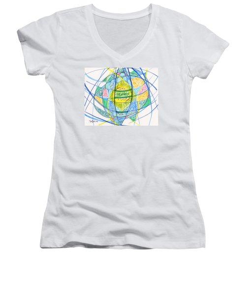 2013 Abstract Drawing #2 Women's V-Neck T-Shirt (Junior Cut) by Lynne Taetzsch