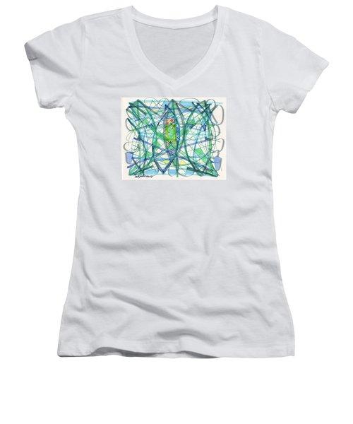 2013 Abstract Drawing #23 Women's V-Neck T-Shirt (Junior Cut) by Lynne Taetzsch