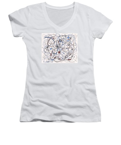 2014 Abstract Drawing #6 Women's V-Neck T-Shirt (Junior Cut) by Lynne Taetzsch