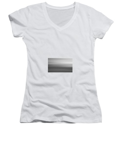 Black And White Abstract Seascape No. 02 Women's V-Neck T-Shirt