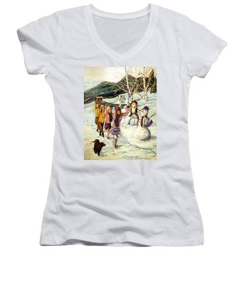 Frosty Frolic Women's V-Neck T-Shirt (Junior Cut) by Linda Simon