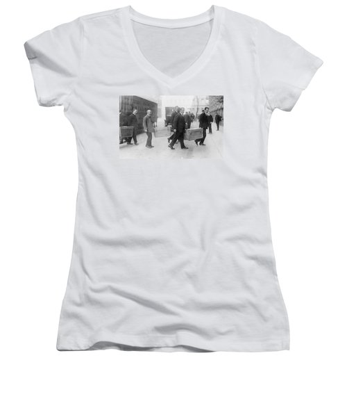 Women's V-Neck T-Shirt (Junior Cut) featuring the photograph Germany Inflation, 1923 by Granger