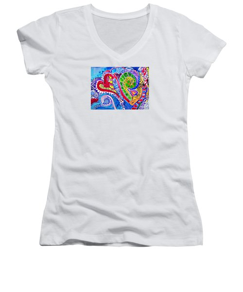 Love Is In The Air Women's V-Neck T-Shirt (Junior Cut) by Sandra Lira
