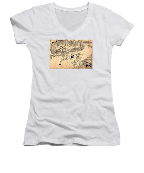 Women's V-Neck T-Shirt (Junior Cut) featuring the drawing Tammy  Meets Cedric The Mongoose by Reynold Jay