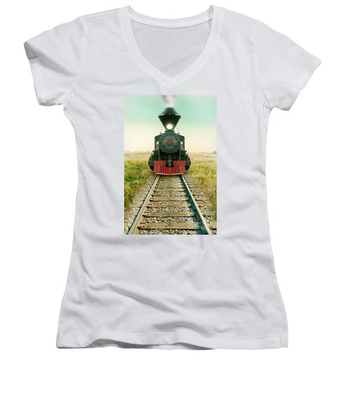 Vintage Train Engine Women's V-Neck T-Shirt