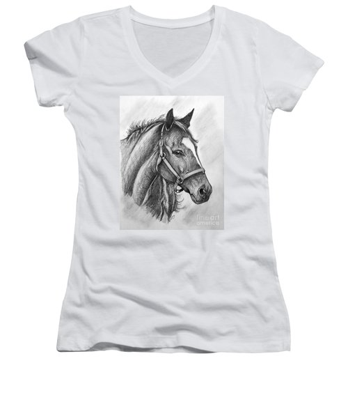 Women's V-Neck T-Shirt (Junior Cut) featuring the drawing Zenyatta by Patrice Torrillo
