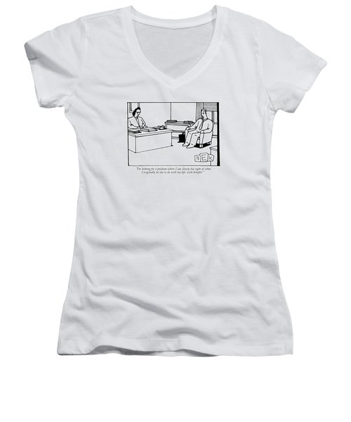 I'm Looking For A Position Where I Can Slowly Women's V-Neck