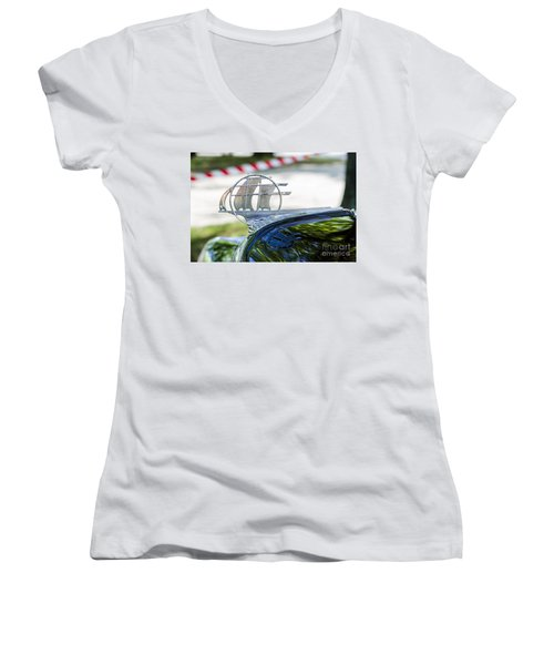 Women's V-Neck T-Shirt (Junior Cut) featuring the photograph '34 Plymouth Sedan Hood Ornament by Paul Mashburn