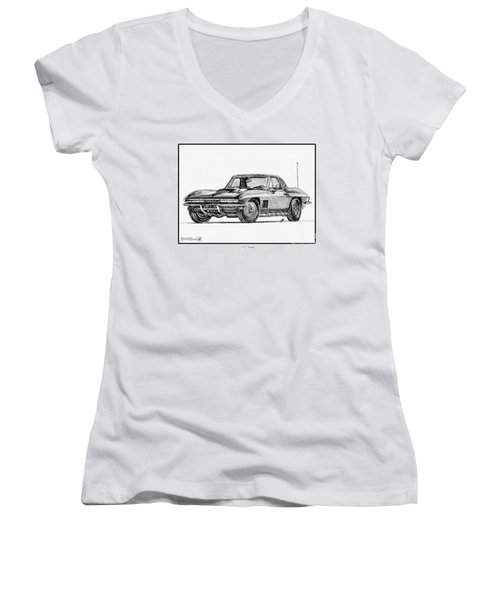 1967 Corvette Women's V-Neck T-Shirt (Junior Cut) by J McCombie