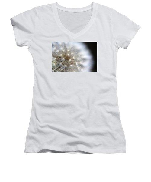 Dandelion Backlit Close Up Women's V-Neck T-Shirt
