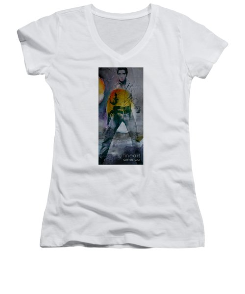 Women's V-Neck T-Shirt (Junior Cut) featuring the mixed media Elvis by Marvin Blaine
