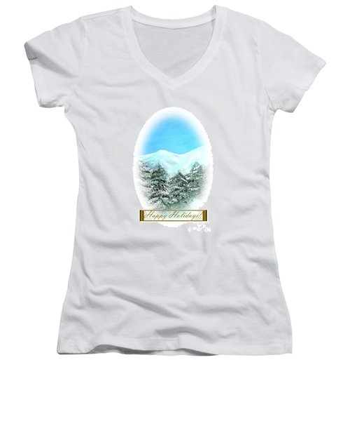 Happy Holidays. Best Christmas Gift Women's V-Neck T-Shirt (Junior Cut) by Oksana Semenchenko