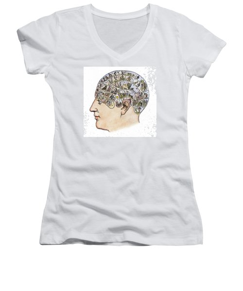 Women's V-Neck T-Shirt (Junior Cut) featuring the painting Phrenology, 19th Century by Granger