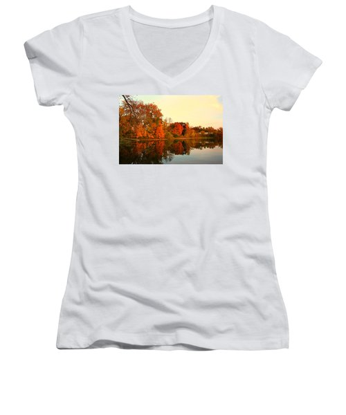 Shady Oak Lake  Women's V-Neck T-Shirt (Junior Cut) by Amanda Stadther