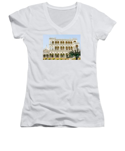 The Aga Khan Palace Women's V-Neck T-Shirt (Junior Cut) by Kiran Joshi