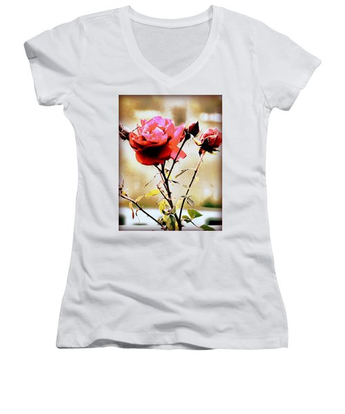 Women's V-Neck T-Shirt (Junior Cut) featuring the photograph 40 Something by Faith Williams
