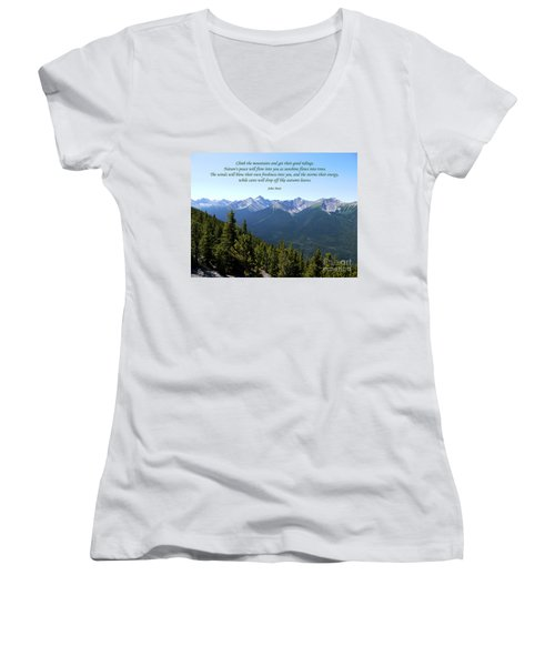 46- John Muir Women's V-Neck T-Shirt (Junior Cut) by Joseph Keane