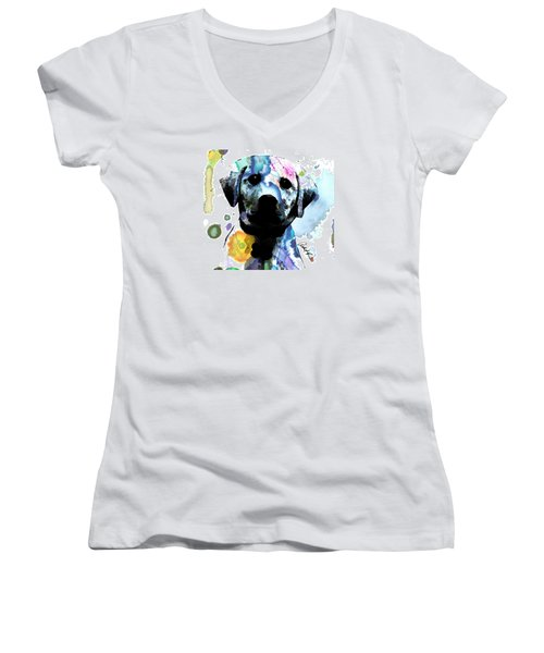 48x44 Labrador Puppy Dog Art- Huge Signed Art Abstract Paintings Modern Www.splashyartist.com Women's V-Neck (Athletic Fit)