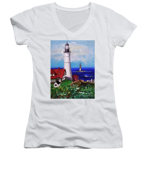Lighthouse Hill Women's V-Neck T-Shirt (Junior Cut) by Linda Simon