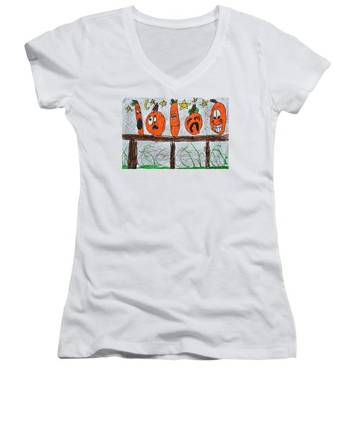 5 Little Pumpkins Women's V-Neck T-Shirt
