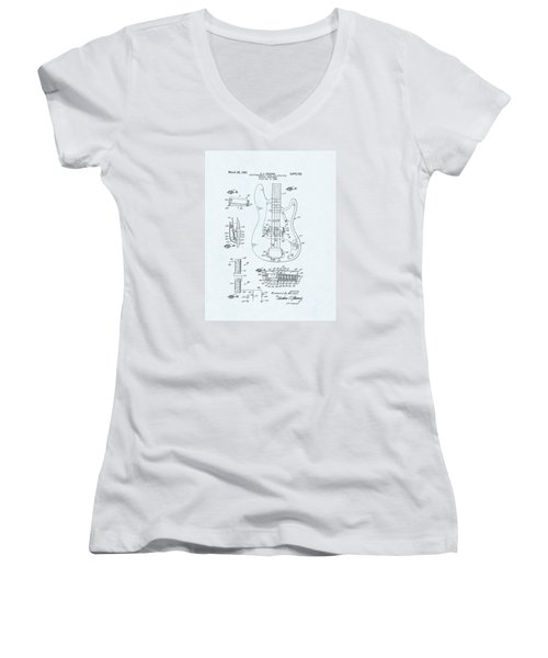 Guitar Patent Drawing On Blue Background Women's V-Neck T-Shirt