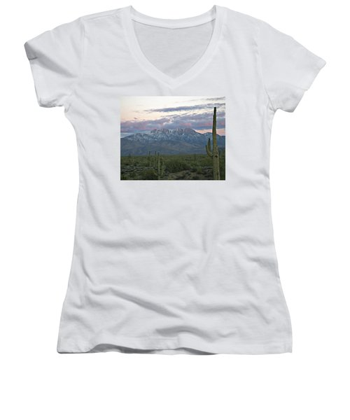 Four Peaks Sunset Snow Women's V-Neck (Athletic Fit)