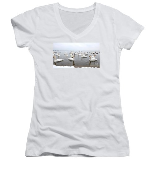 60 Swans A Swimming Women's V-Neck (Athletic Fit)
