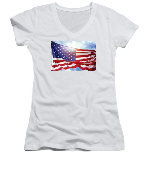 American Flag 55 Women's V-Neck (Athletic Fit)